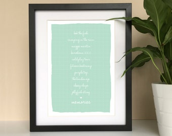 Best friend personalised poster print - best friend gift - personalised memories - best friend quote - gift for her - best friend poster