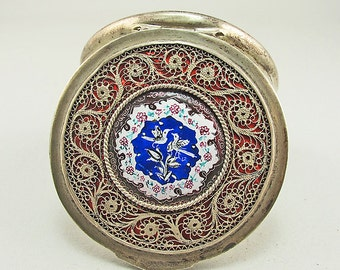 Vintage Persian Compact Filigree Silver Plate On Enamel Vintage Compact 1950s Compact Antiques Collectible Accessories