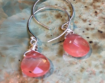 Cherry quartz Earrings, Sterling silver circle Hook Earrings, Dangle stone Earrings, wire wrap dainty Hoops, peach drop earrings - E8068-3