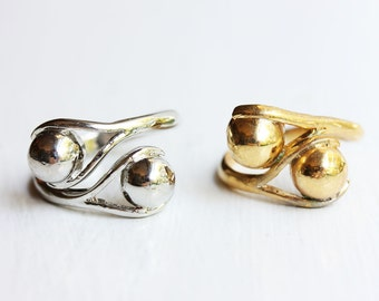 Spiral Ball Ring, Ball Ring, Twist Ring, Spiral Ring, Gold Ball Ring, Silver Ball Ring, Adjustable Ring, Vintage Ring, Ring, Silver and Gold