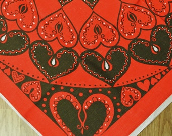 Swedish retro vintage 1960s larger printed cotton design tabelcloth  with dark brown heart motives on red bottomcolor