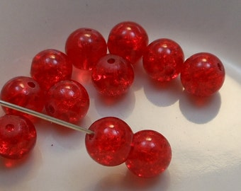 Czech Druk Beads Round Transparent Crackle Red 8mm (15pk) PH-8DK-CDR