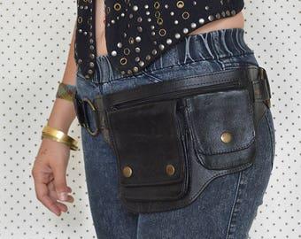 Solo Leather Utility Belt, Festival Belt, Pocket Belt, Bum Bag, Hip Bag,Festival Fanny Pack // SALE//