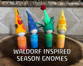 Waldorf inspired,Four season peg doll, Summer Spring Winter and Fall, Waldorf,Hand painted (Large peg dolls)