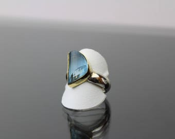 Fancy Cut Untreated Aquamarine 6.15 Carats, 18K Gold Setting, Sterling Silver Comfort Fit Ring. Size US- 6, UK- L 1/2.