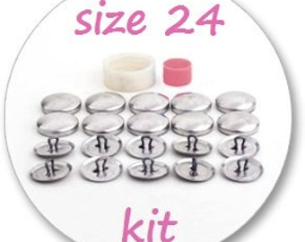 Size 24 Cover button kit: tool and 10 blank buttons ready to use