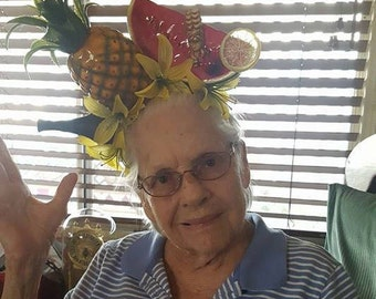 Carmen Miranda, Faux fruit, Fruit headband, Fruit, Fruit headband, Rum, Deadhead rum, Fruit, Tiki, Halloween