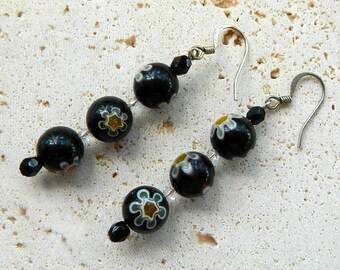 Resin Floral Dangle Earrings With Swarovski Crystals