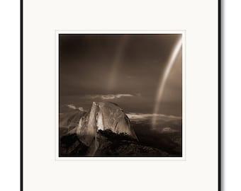 Black & White photography, Half Dome Yosemite, Sepia tone photograph, Half Dome Rainbow, Yosemite Park, California, Framed photo, limited
