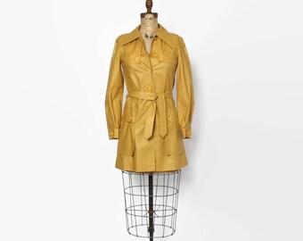 Vintage 70s TRENCH Coat / 1970s Ochre Gold Belted Raincoat Jacket