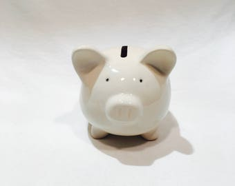 White ceramic piggy bank, Vintage piggybank, Ceramic bank, Coin bank, Ceramic pig, Savings bank, With stopper, Hole on bottom