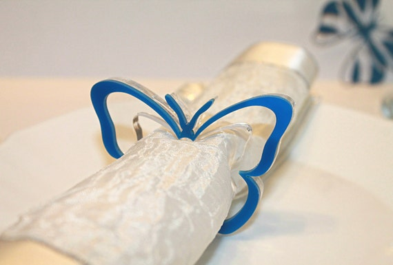 Blue wedding Napkin ring holders Butterfly napkin rings Tableware Birthday Party decorations Spring decor Holiday dinner party Gift for Mom