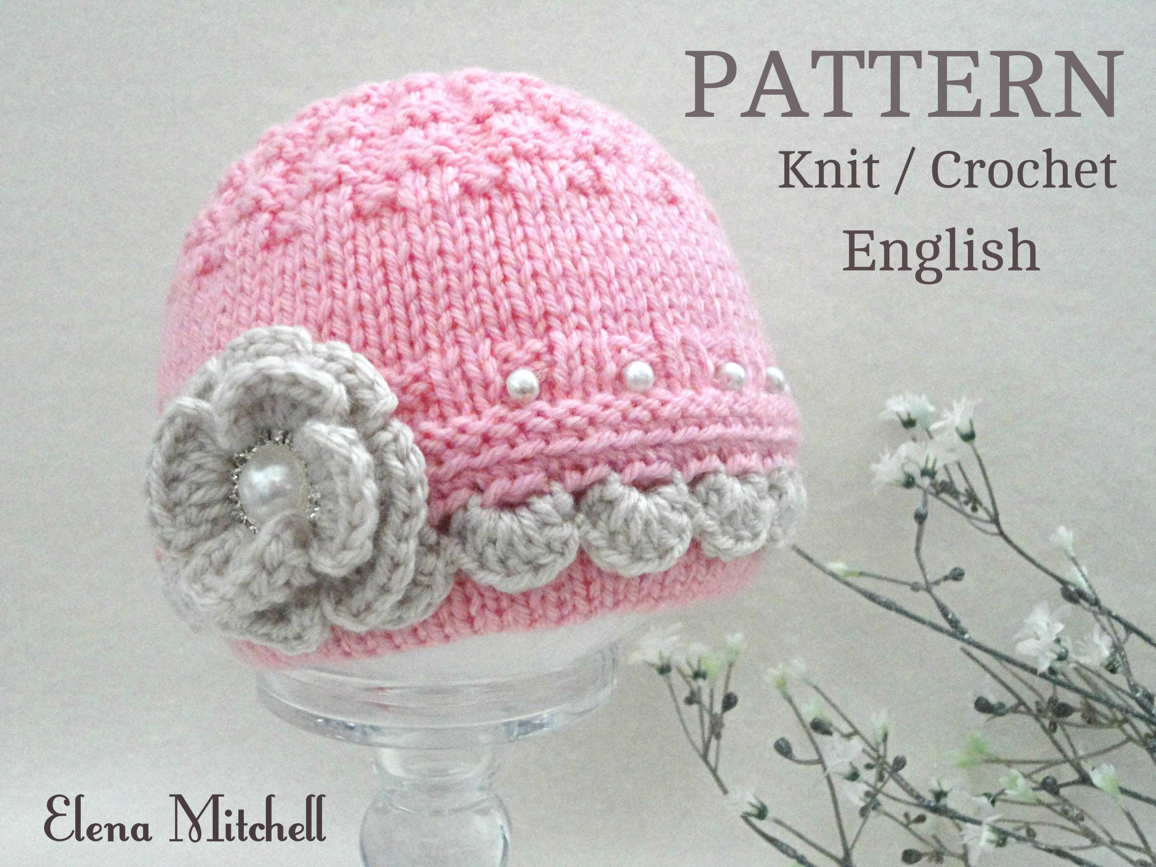 Knitting PATTERN Baby Hat Baby Beanie Knitted Baby Girl Hat Baby ...