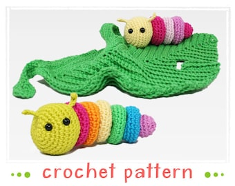 Lovey - Little Caterpillar (+ rattle) - Crochet Pattern - PDF