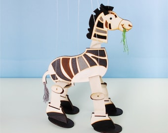 Zebra, Marionette, Toy, Wood, Hand-Painted , Room Decoration for Kids.