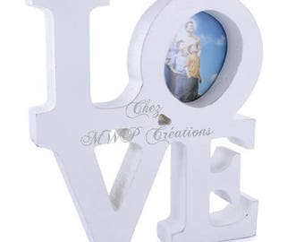 Wooden picture frame, LOVE (20x18x3cm) white