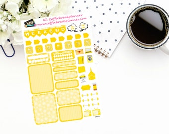 Planner Stickers |Mini Kit in Yellow|Weekly Mini Kit| Boxes and Icons Weekly Kit|For use in a wide variety of planners and journals|MK003