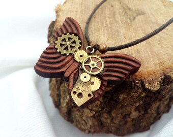 BLACK FRIDAY SALE! Steampunk Butterfly Brown Wood Pendant With Brass Gears, Wood Butterfly Necklace, Steampunk Jewelry, Birthday Gift