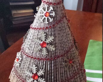 Repurposed Book Christmas tree - Custom Color