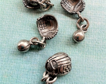 Baseball Glove with Dangling Ball Charms -5 pieces-(Antique Pewter Silver Finish)--style 628--