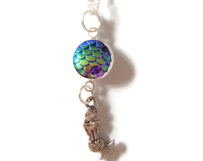 MERMAID Scales inspired silver tone silver charm necklace SEA beach Jewellery fan gift UK