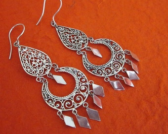 Unique Balinese Silver chandelier Earrings / silver 925 / Bali Handmade Jewelry / 2.75 inches long / (#1m)