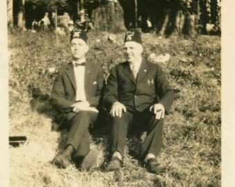 vintage photo 1930 2 Masonic Men in Fez Hats