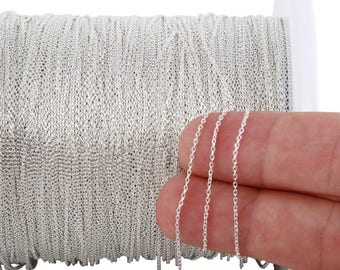 1 FT 0.95x1.32 mm Sterling Silver Bulk Cable Chain (SS25C) Price Per Foot