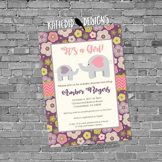 elephant theme baby shower invitation rustic baby girl shower invitation floral chic invite pink purple safari diaper 13101 katiedid designs