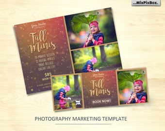 Fall Mini Session Template v.2 , Photography Marketing Board, FB, Facebook timeline, Halloween Minis,Photoshop Template, outdoor sessions