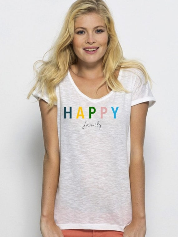 Round neck women t-shirt HAPPY