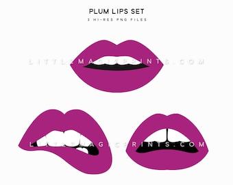 Plum Lips Clipart, Purple Maroon Lip Clipart File, Instant Digital Download, Lips Beauty Gap Bite Mauve Dark Purple Clipart Files