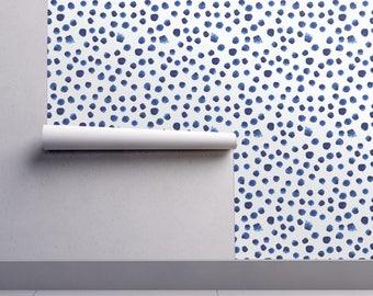 Watercolor Wallpaper - Blue Brushstroke Dot By Katerinaizotova - Indigo Custom Printed Removable Self Adhesive Wallpaper Roll by Spoonflower