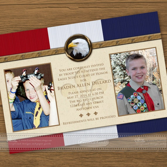 eagle scout court of honor invitations, eagle scout, eagle court of honor, Court of Honor invitation, BSA, cub scout advancement, IN302