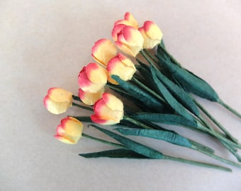 10 yellow red paper tulips - mulberry paper tulips - mini mulberry paper flowers