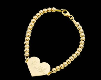Gold Name Bracelet - Personalized Bracelet - Heart Bracelet - Custom Bracelet - Personalize Jewelry - Personalized Gift - Engraved Bracelet