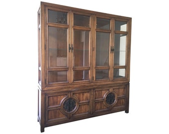 Asian Chinoiserie Lighted Cabinet by Century