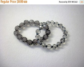 ON SALE Retro Translucent Faceted Acrylic Stretch 2X Bracelet 52016