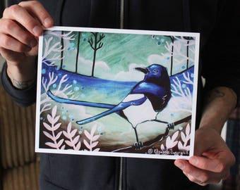 Magpie in the Winter; Fine Art Print