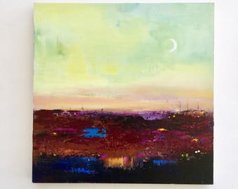 Australian Landscape, Abstract Painting, original art, New moon, Acrylic painting on board, FREE SHIPPING