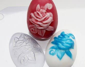 Rose soap mold, egg mold, 3d egg mould, flowers mold, flowers bath bomb, roses chocolate, set of molds, plastic mold, easter egg mold