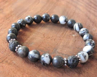 Zebra Jasper Bracelet, Chakra Bracelet, Healing Meditation Bracelet, Yoga Bracelet, Wrist Mala