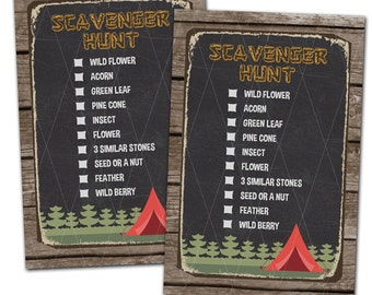 Camping Scavenger Hunt Card, Camping Party, Woodland Party, Gender Neutral Party, Instant Download, Print Your Own