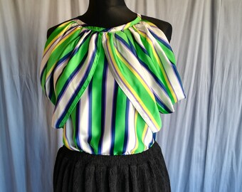 blouse with blue green stripes without sleeves light weight fabric