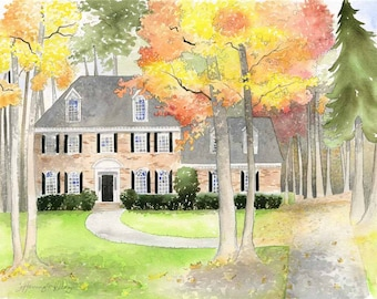 Custom House Watercolor - Custom home painting - Original house painting - Large Original House painting