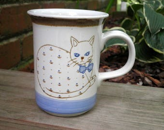 Vintage Cat Coffee Cup / Mug - Retro Collectible Kitschy Country Cat Stoneware Mug / Ceramic Cup - Cat / Kitty / Animal Lover Holiday Gift