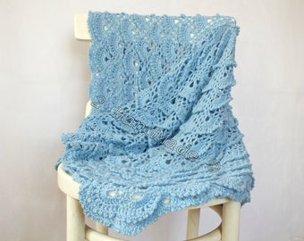 Baby Blue Lace Shells Crochet Newborn Baby Blanket Christening Baptism Baby Shower Nursery Decor Baby Boy Girl Gift Baby Keepsake