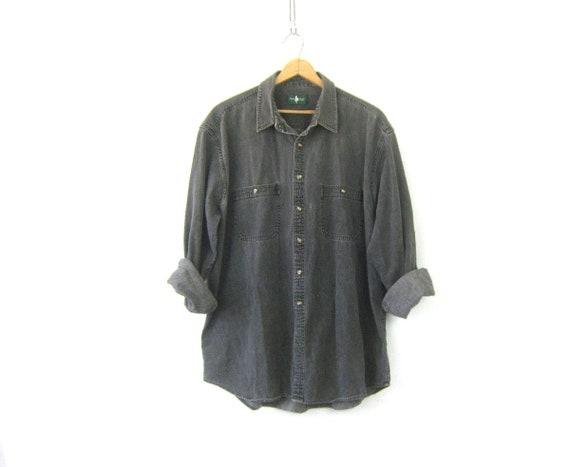 Faded Black Gray Denim Shirt Oversized Jean Shirt Boyfriend Button Up Work Shirt Men's Size 2XL Tall Unisex COED Collar Shirt Pockets