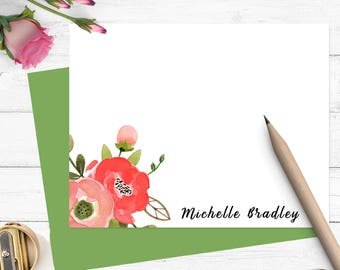 watercolor personalized stationery, custom stationary set for girls, modern note cards, flat note cards, custom thank you cards,PS025