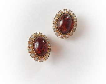 Vintage Faux Amber  Lucite Foil and Rhinestone Earrings Clip On